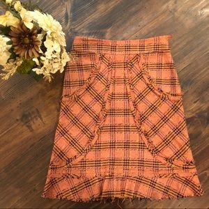 Anthropologie Elevenses Tweed Distressed Skirt